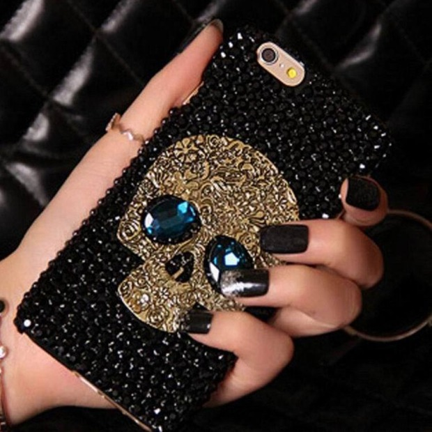Handmade-Diamond-Metal-saphire-eye-Skull-back-Cover-phone-case-for-Iphone-5-5s-6-6